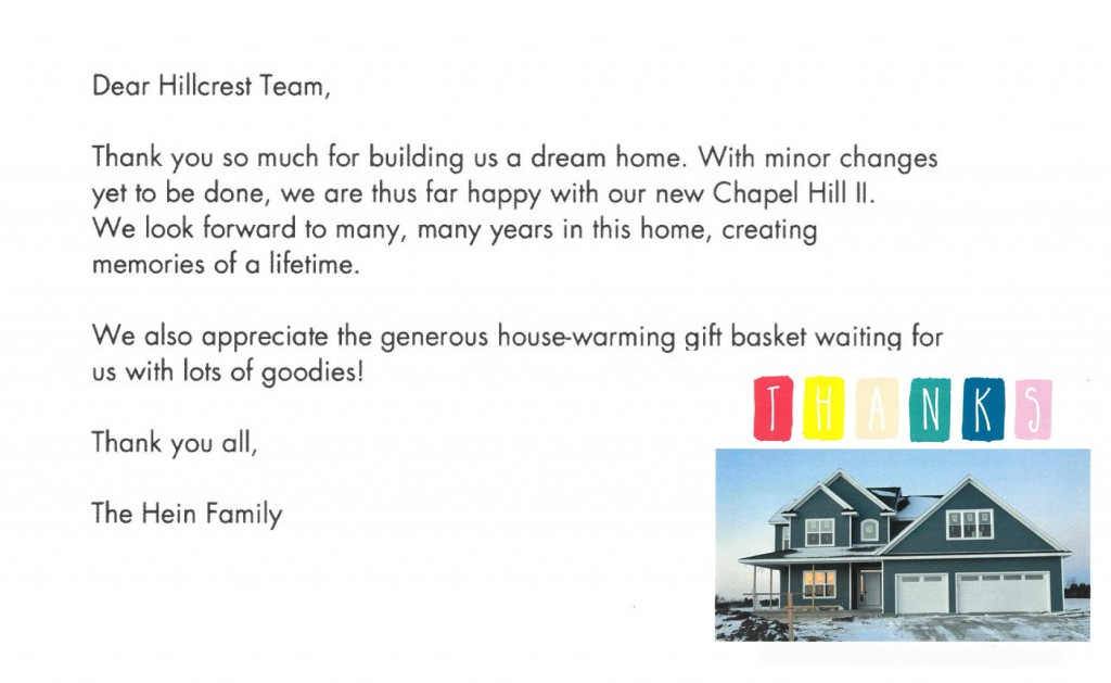 testimonial, thank you, hillcrest builders, heartwarming